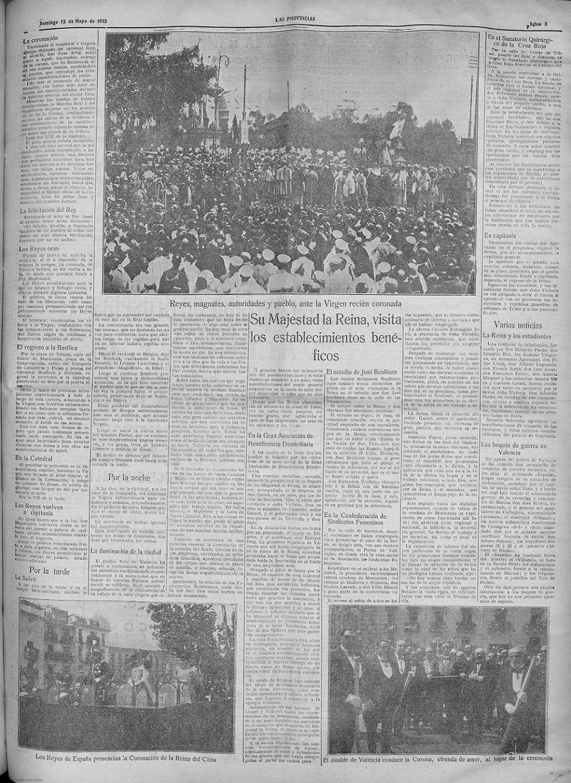 Página 2, al día siguiente de la Coronación, 'Las Provincias : diario de Valencia: Año 58 Número 16665 - 1923 mayo 13 (13/05/1923)
