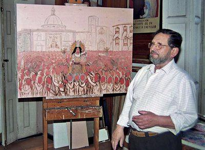 Constante Gil, junto a uno de sus cuadros. EFE. Publicada en El País, necrológicas 9-6-2009.