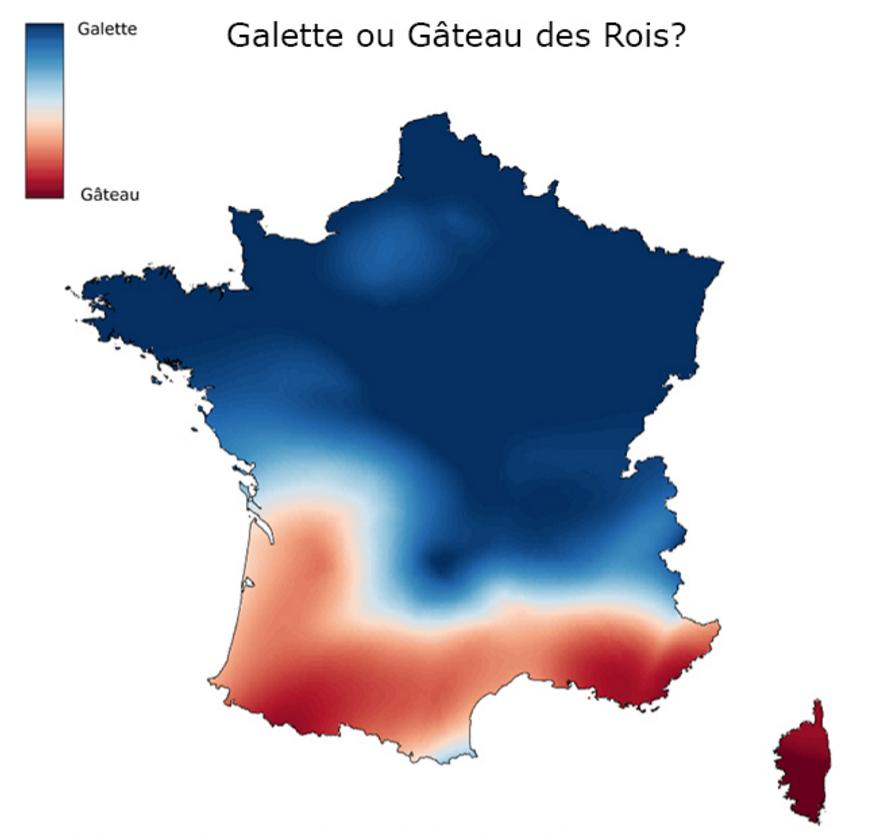 Mapa de tradiciones en Francia entre el Gâteau des Rois y la Galette des Rois. Fuente: http://www.slate.fr/