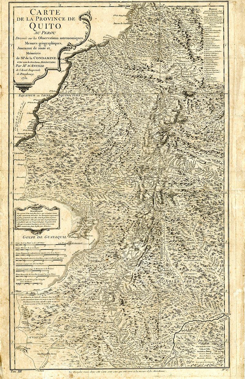 Carta Geográfica de la Costa Occidental en la Audiencia del Quito (1751), por Pedro Vicente Maldonado.