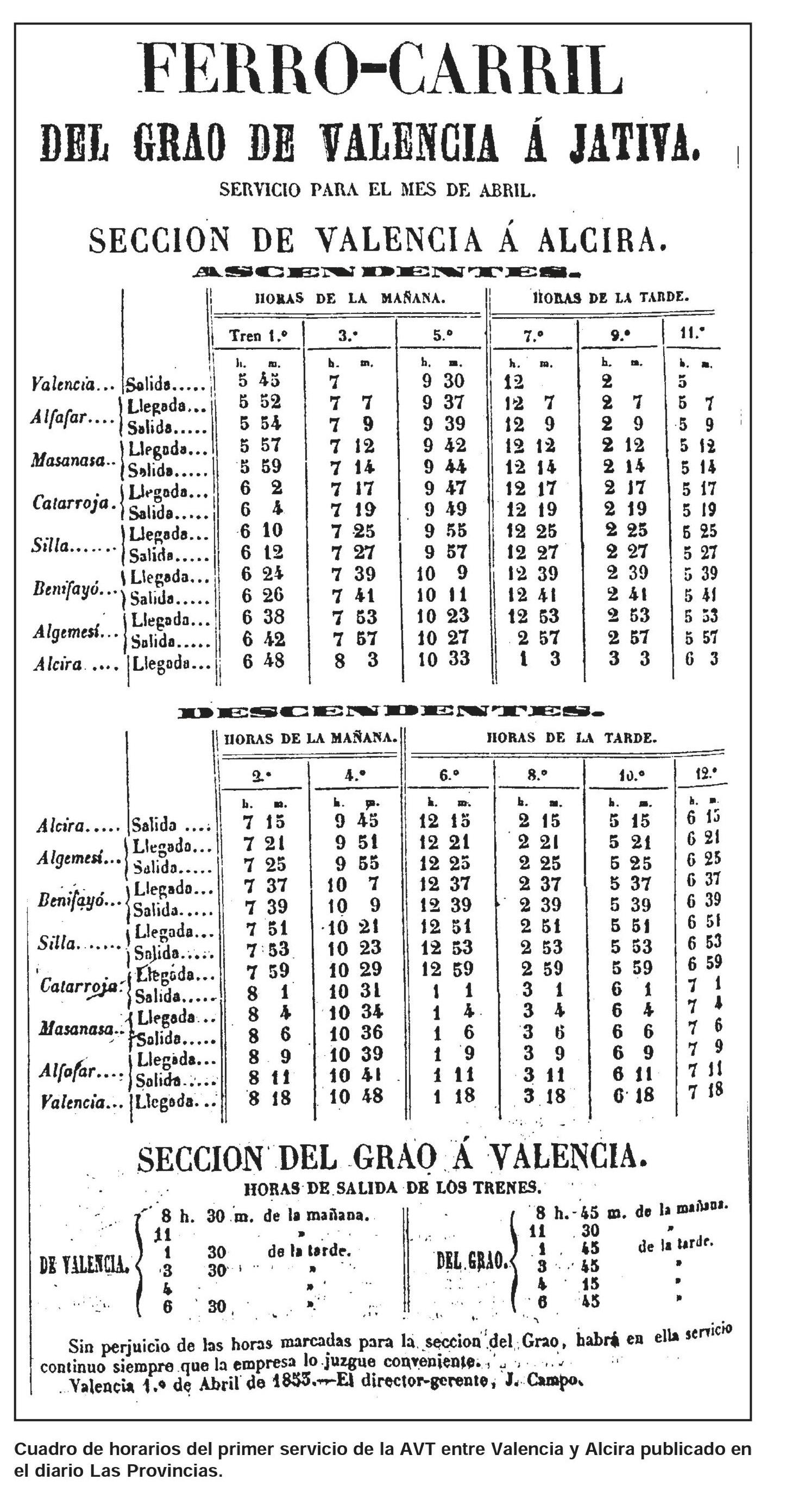 Recorte de Las Provincias, Abril de 1853