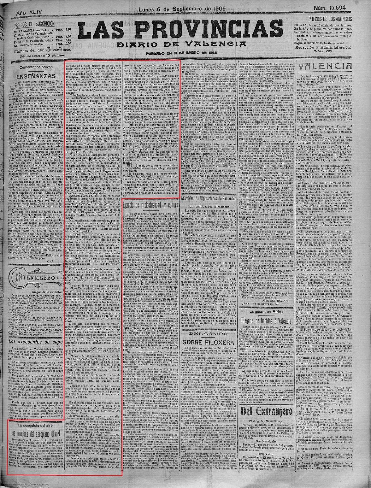 'Las Provincias : diario de Valencia: Año XLIV Número 15694 - 1909 septiembre 6 (06/09/1909)