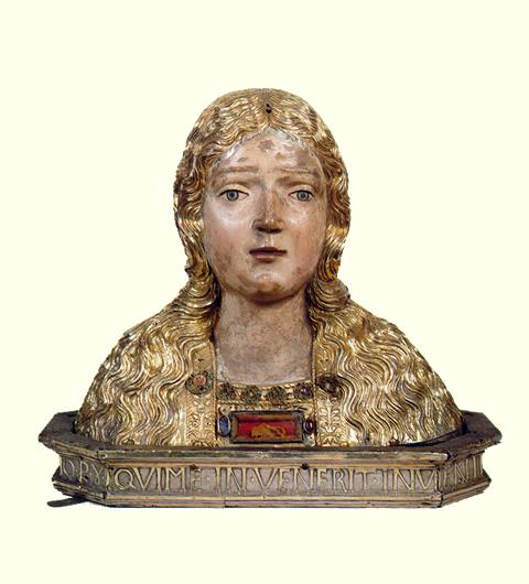 Relicario de un trozo del verdadero manto o velo de la Virgen.