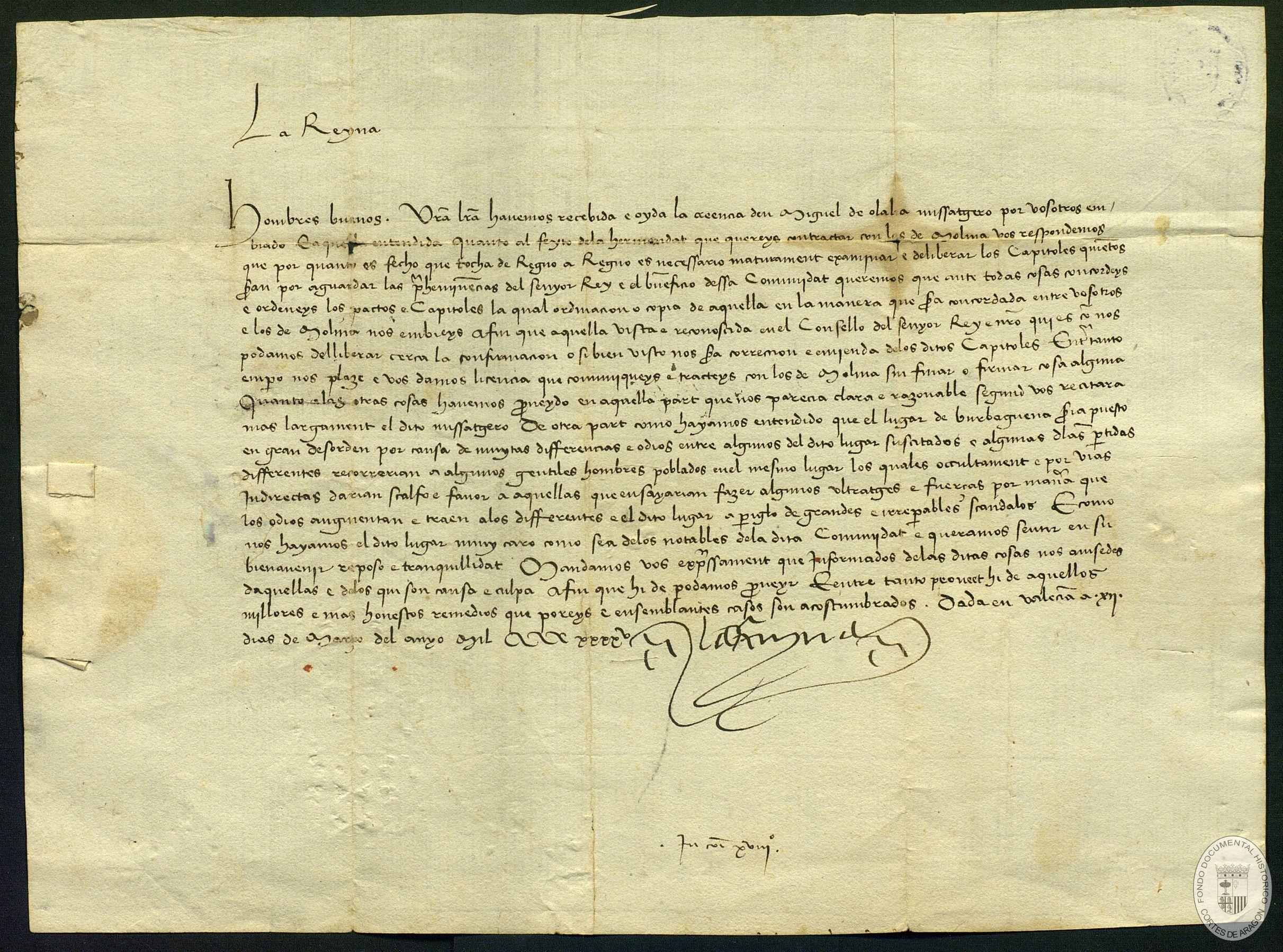 CARTA escrita en Valencia, de María de Castilla, reina de Aragón, esposa de Alfonso V el Magnánimo, dirigida a los escribanos, oficiales y hombres buenos de la comunidad de aldeas de Daroca, en respuesta a su solicitud de firmar una concordia con Moli.
