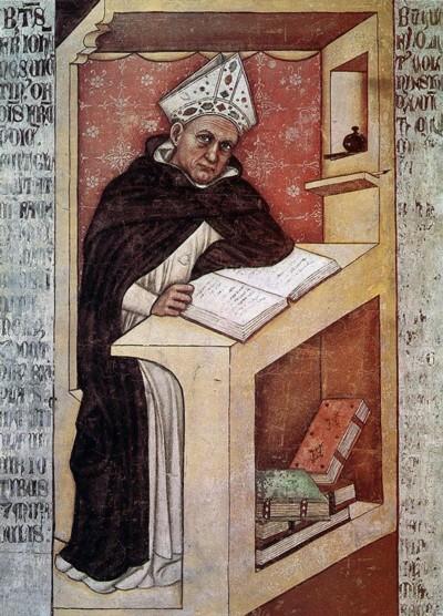 Fuente: Alberto Magno, detalle de un fresco por Tommaso da Modena, c. 1352; en la iglesia de San Nicolo, Treviso, Italia