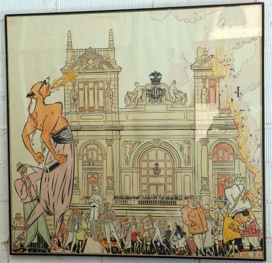 Boceto de la falla de la plaça del País Valencià (Valencia), actualmente Plaza del Ayuntamiento. Año 1987, dibujado por Sento Llobell según una idea de Manuel Vicent. Fuente: distritofallas.com