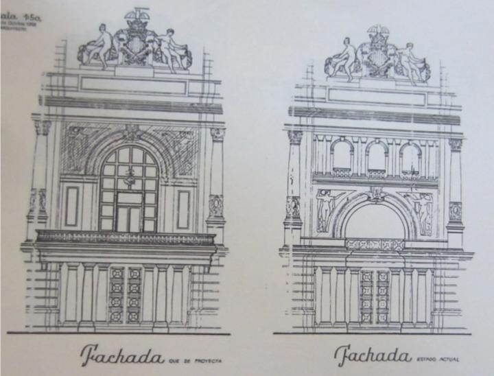 Original del proyecto definitivo de la actual fisionomía del balcón de la Plaza del Ayuntamiento. Fuente: fppuche.wordpress.com
