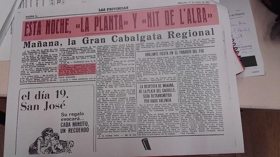 Chupinazo fallero del 15 de marzo de 1967. Fuente: Las Provincias.