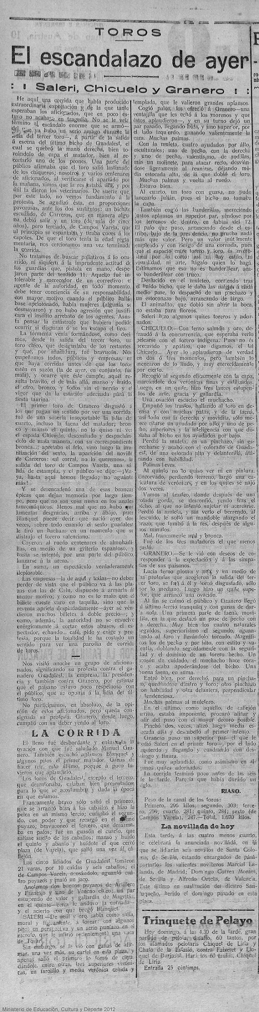 """Fuente: http://prensahistorica.mcu.es/. Trozo de recorte extraído de """"El Pueblo"""" : diario republicano de Valencia - Año XXVIII Número 10415 - 1921 marzo 20 (20/03/1921). El recorte pertenece a la 2ª página."""