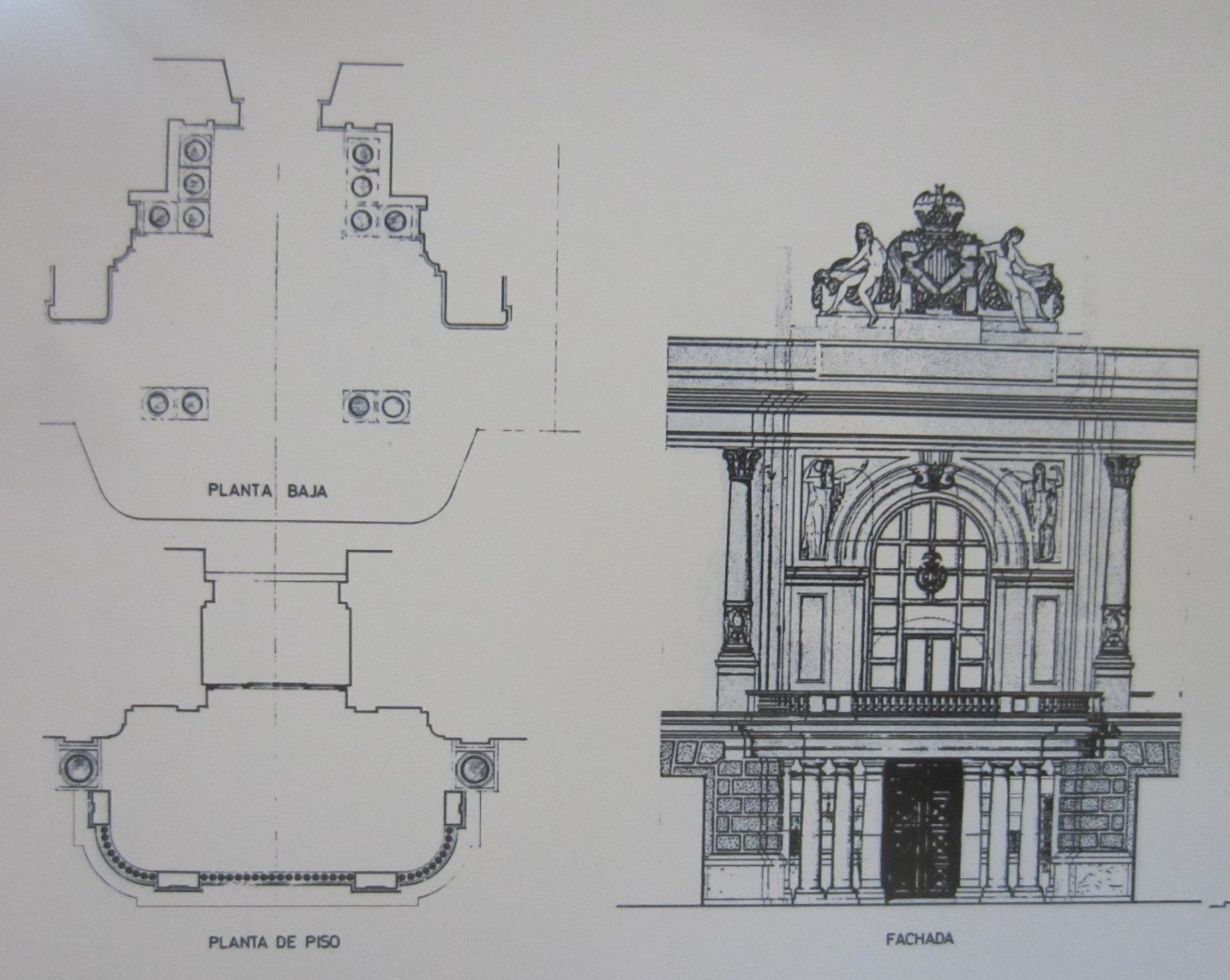 Original del proyecto definitivo de la actual fisionomía del balcón de la Plaza del Ayuntamiento. Alzado y planta. Fuente: fppuche.wordpress.com