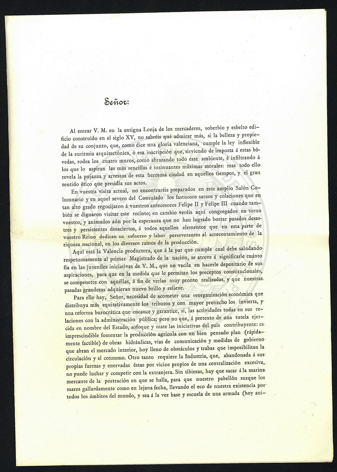 Página 2: Discurso lanzado a Su Majestad el Rey Alfonso XIII el 11 de abril de 1905 en la Lonja. Fuente: riunet.upv.es