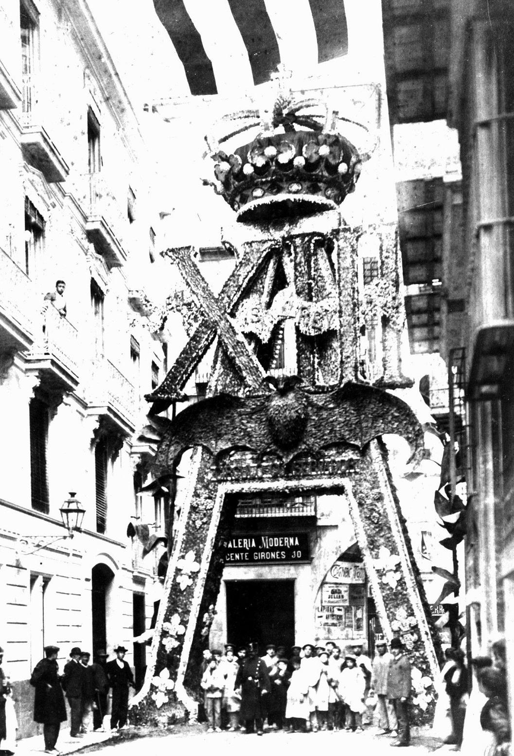 Motivos dispuestos para la visita de Alfonso XIII. Fuente:  http://valenpedia.lasprovincias.es/