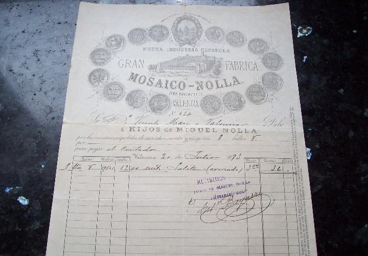 Factura de la Gran Fabrica de Mosaico Nolla en Valencia año 1893. Fuente: todocolección.net