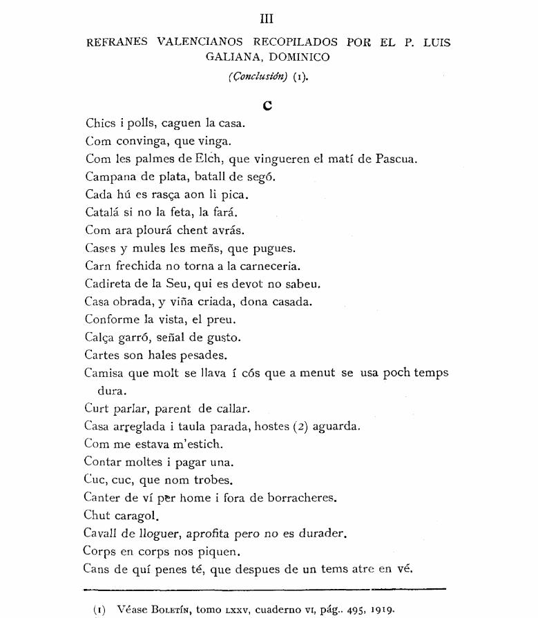 Página de los REFRANES VALENCIANOS RECOPILADOS POR EL P. LUIS GALIANA, DOMINICO
