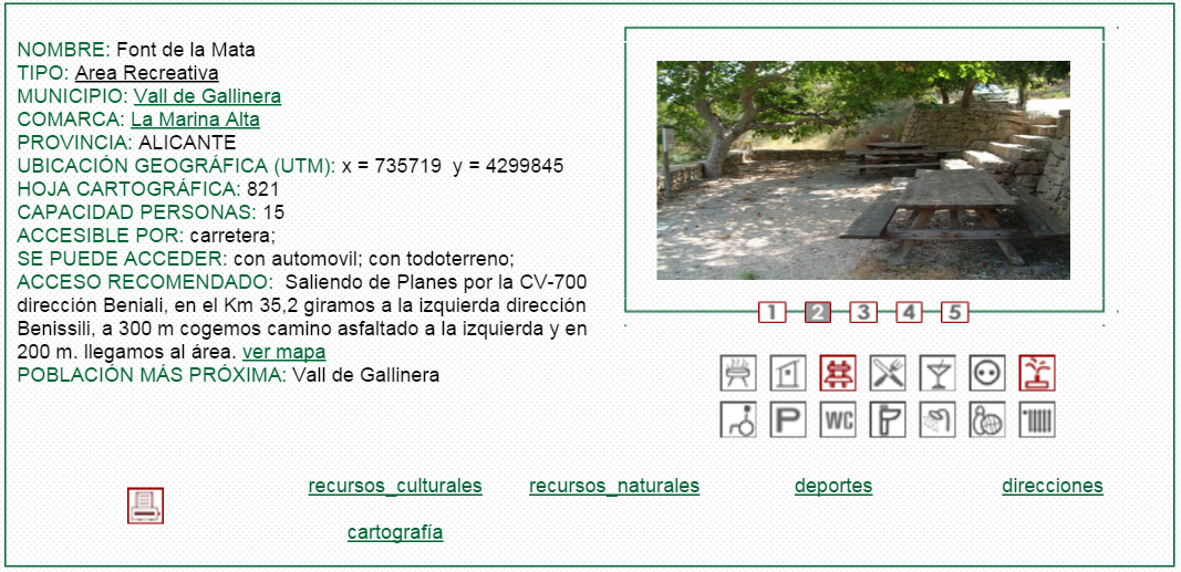 nº21 NOMBRE: Font de la Mata. TIPO: Área Recreativa.