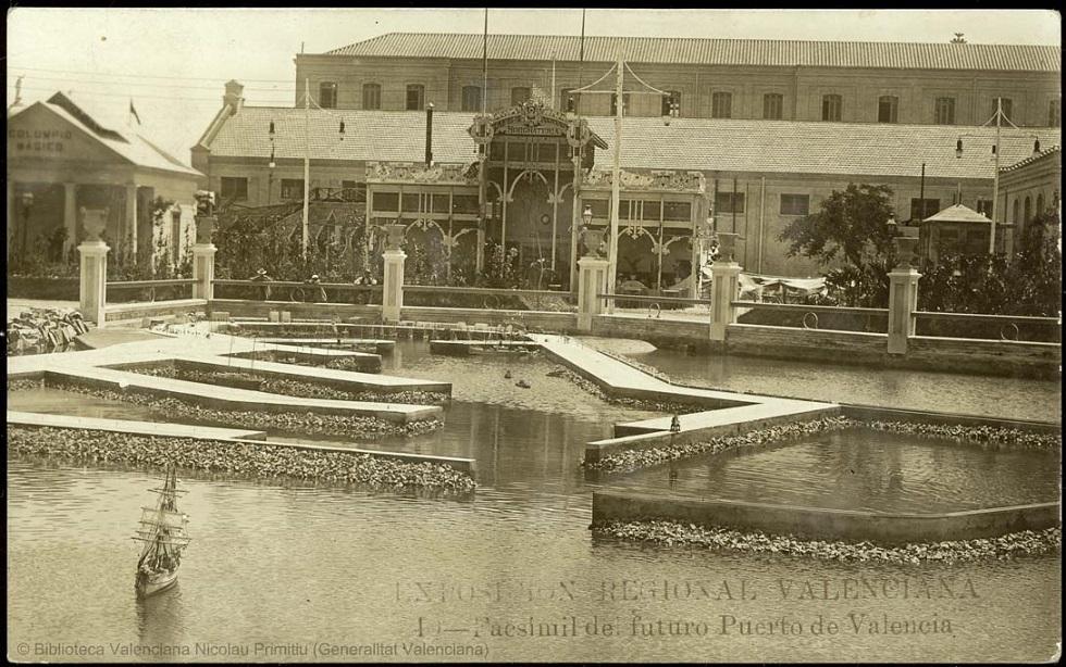 Maqueta de la Exposición Regional Valenciana donde se podía ver el futuro Puerto de Valencia.