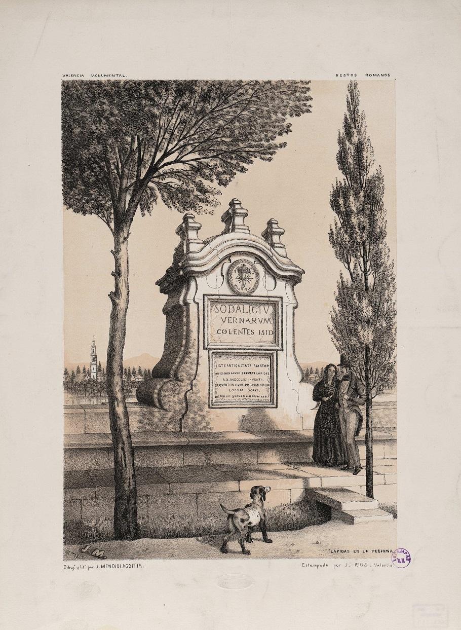 LÁPIDAS EN LA PECHINA Dibuj. y lit. por J. Mendiolagoitia  Autor Mendiolagoitia, J. (s. XIX) Rius, J.- Fecha 1849. Estampado por J. Rius (Biblioteca Digital Hispánica - Biblioteca Nacional de España).