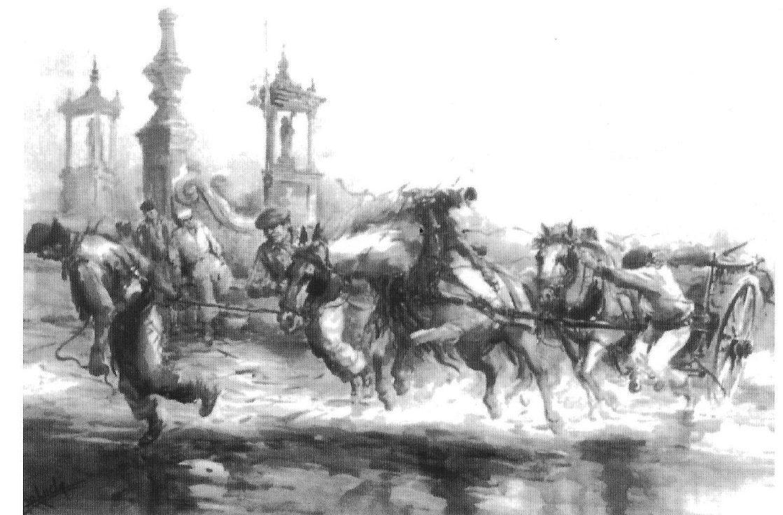 """Grabado sobre el Puente del Mar en Valencia, extraído de """"Pinedo, més de cent anys d'història"""" de Juli Navarro i Gimeno."""