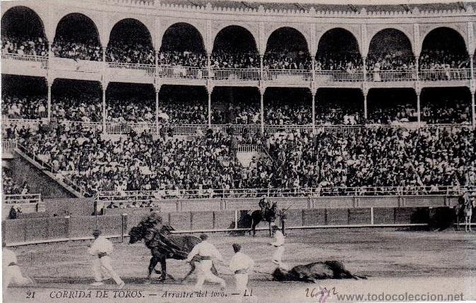 Imagen del siglo XIX en la plaza vieja de Madrid, también conocida como plaza de la carretera de Aragón o, más modernamente, de la calle Goya (hoy estaría situada en el Palacio de los Deportes de Madrid y estuvo en pie desde Desde 1874 hasta 1934).