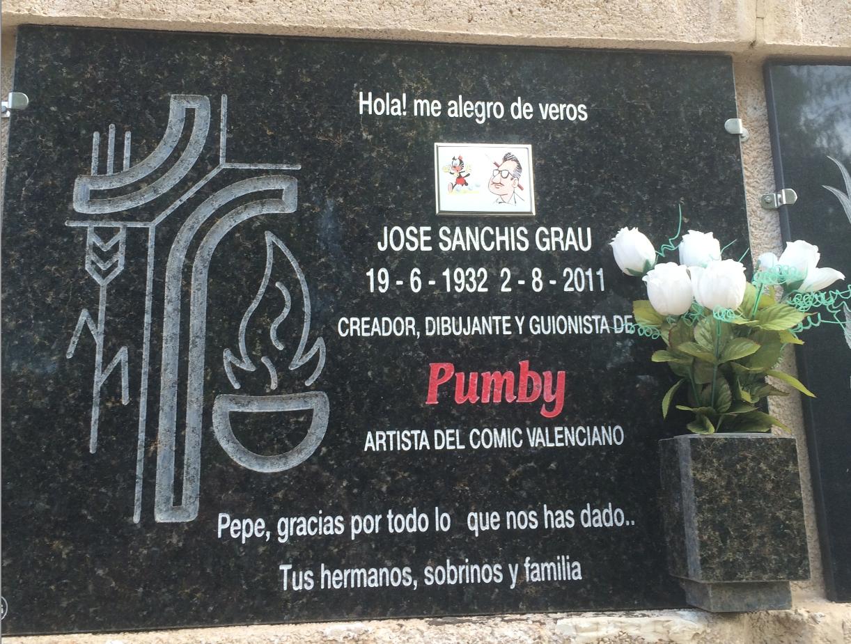 Fotografía del nicho de José Sanchis Grau en el Cementerio General de Valencia tomada por José L Bernabé Tronchoni (8/29/2015) y que aparece en findagrave.com.