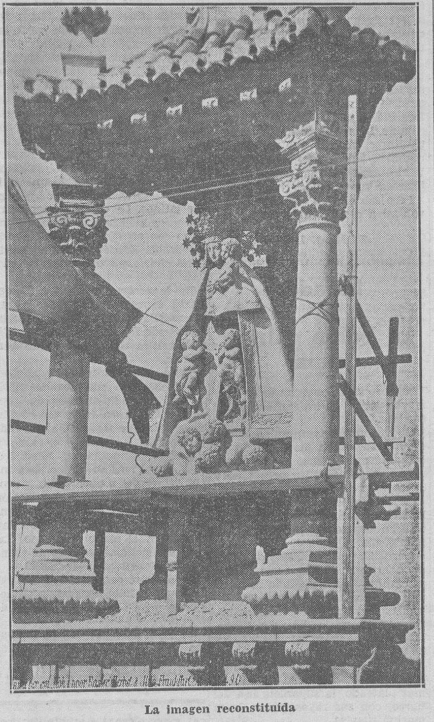 Imagen, todavía con andamios, del 12 de octubre publicada en Las Provincias el 13 de octubre de 1933.