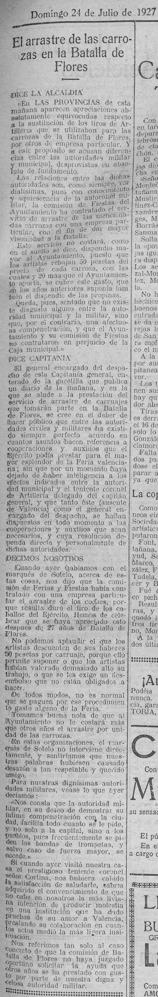 Las Provincias (prensa histórica, donde puede verse la fecha de la publicación justo en la parte superior del artículo).