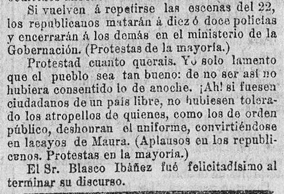 Las amenazas de Blasco Ibáñez en el Congreso. El Pueblo : diario republicano de Valencia (25/02/1904).