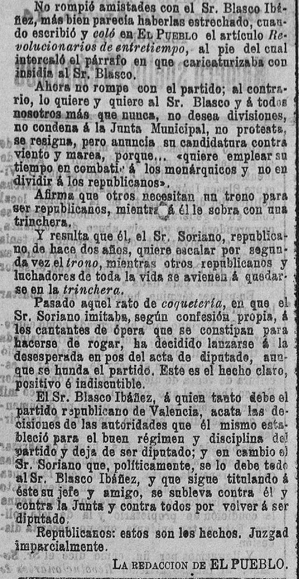 """Fragmento final de la respuesta de la redacción de """"El Pueblo"""": diario republicano de Valencia (18/02/1903)."""