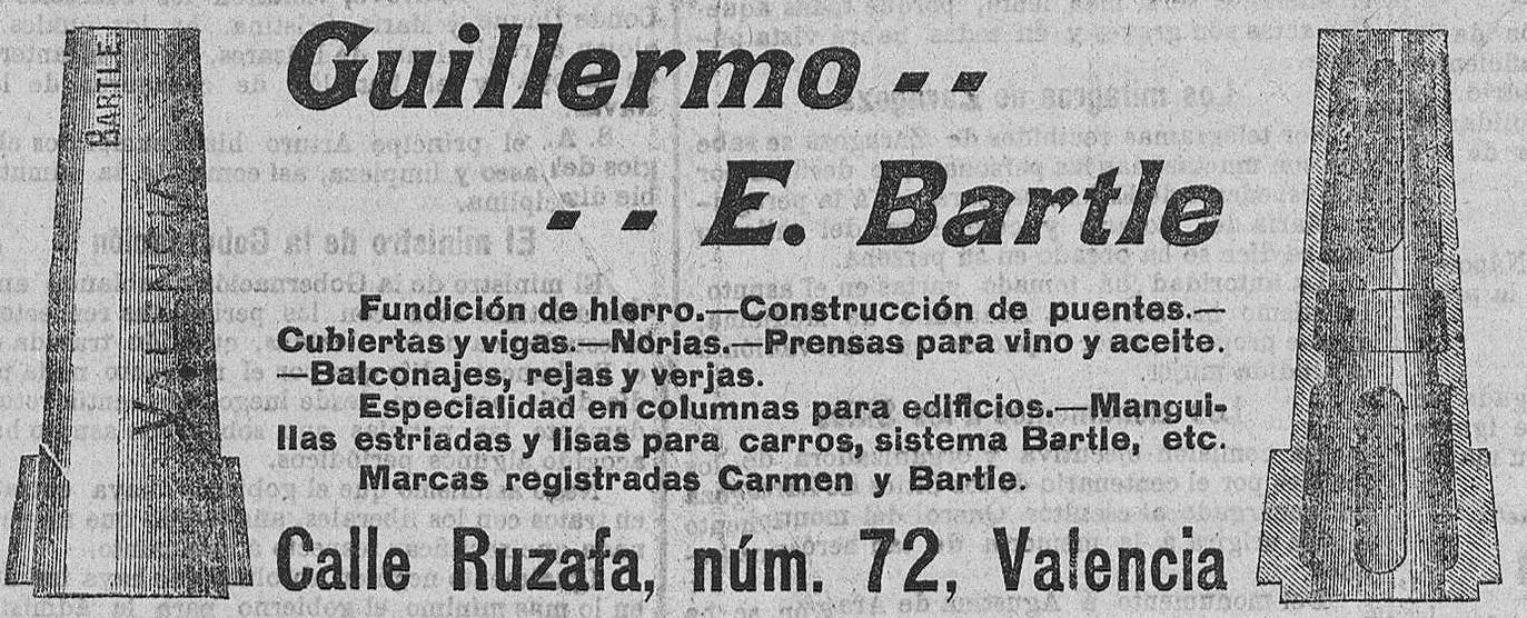 La antigua fundición de hierro J. Eduardo Bartle, fue cedida en 1906 a D. Guillermo E.Bartle, en la misma Calle Ruzafa, 72, de Valencia. Recorte de 1907, prensa histórica (Las Provincias).
