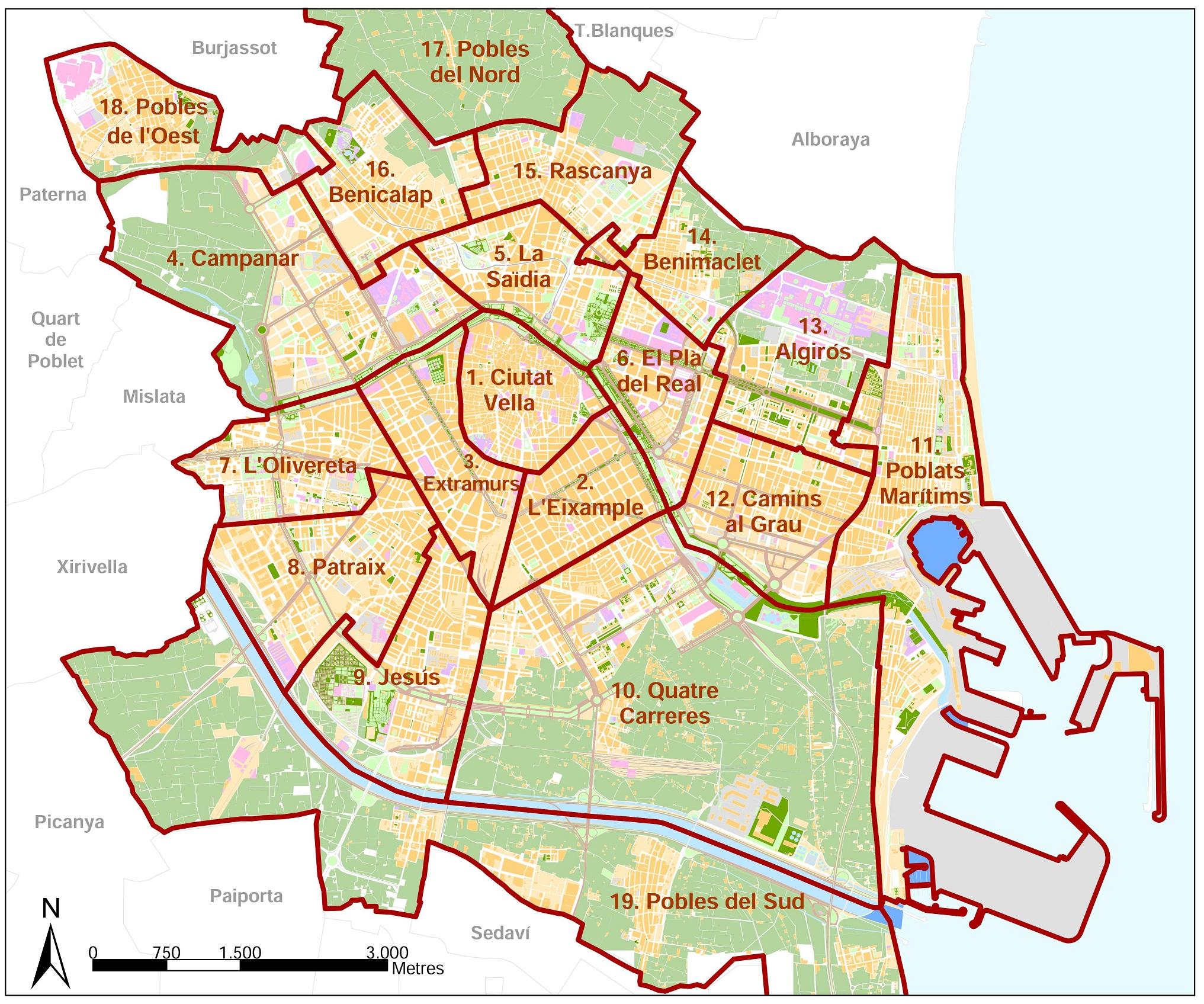 Los 19 distritos de la ciudad de Valencia.