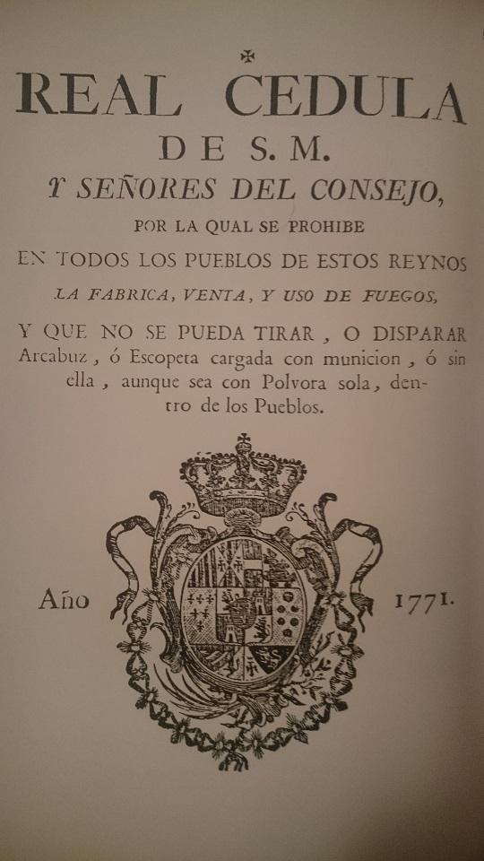 Una de las tantas prohibiciones borbónicas impuestas desde el Decreto de Nueva Planta, en este caso por Carlos III en 1771.