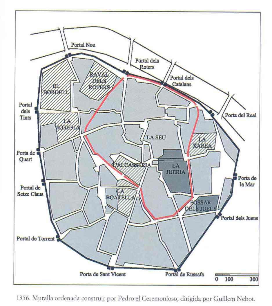 Plano de la muralla cristiana de Valencia. Fuente: engarzadura.uphero.com