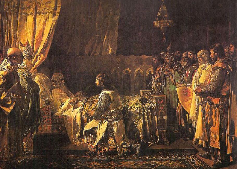 Ignacio Pinazo Camarlench: 'Últimos momentos del rey don Jaime el Conquistador en el acto de entregar su espada a su hijo don Pedro' (Museo del Prado, Madrid).