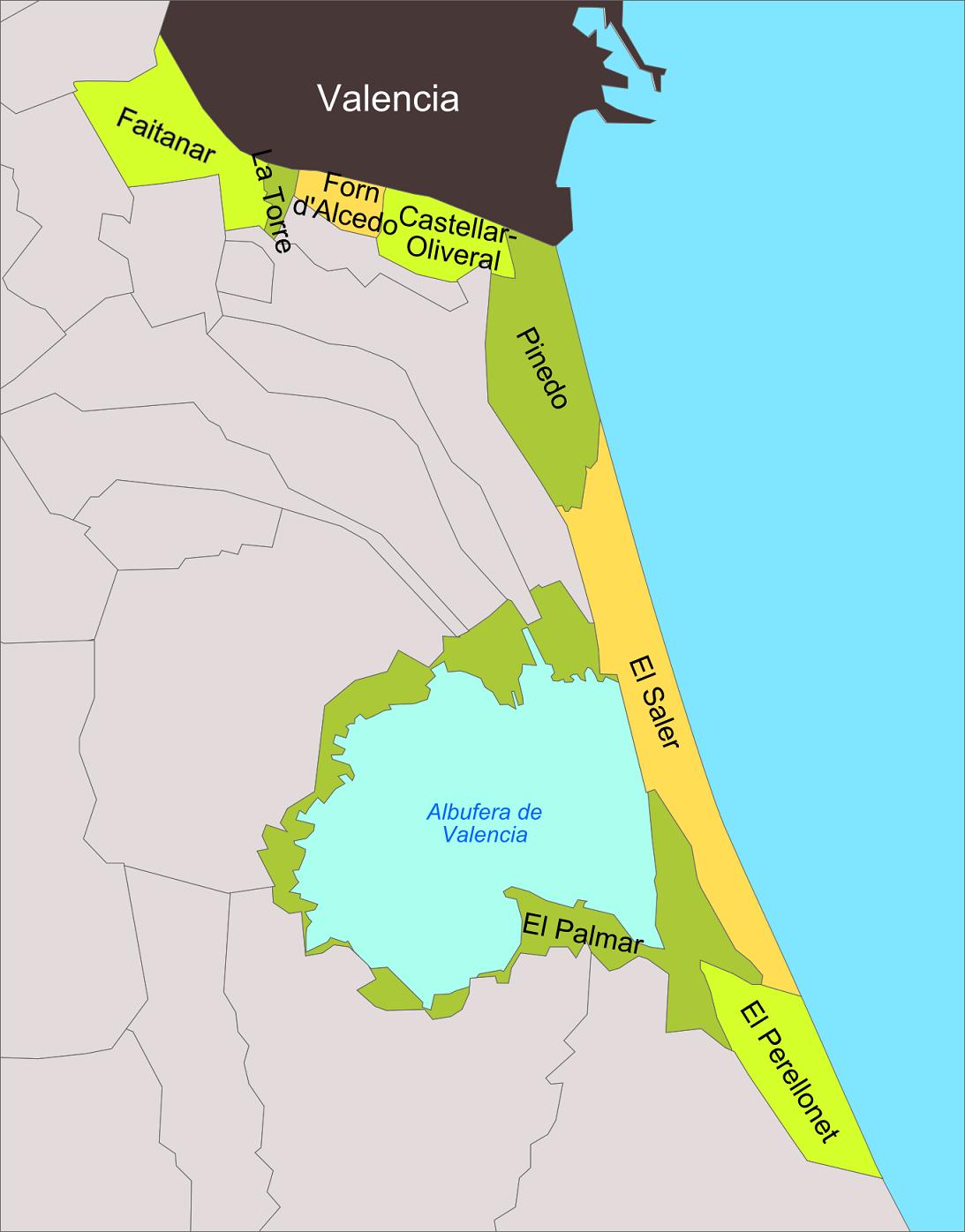 Enrique Íñiguez Rodríguez (Qoan) -  Mapa del distrito 'Poblados del Norte' de la ciudad de Valencia. CC BY-SA 3.0