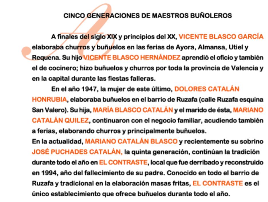 Historia Buñolería El Constraste