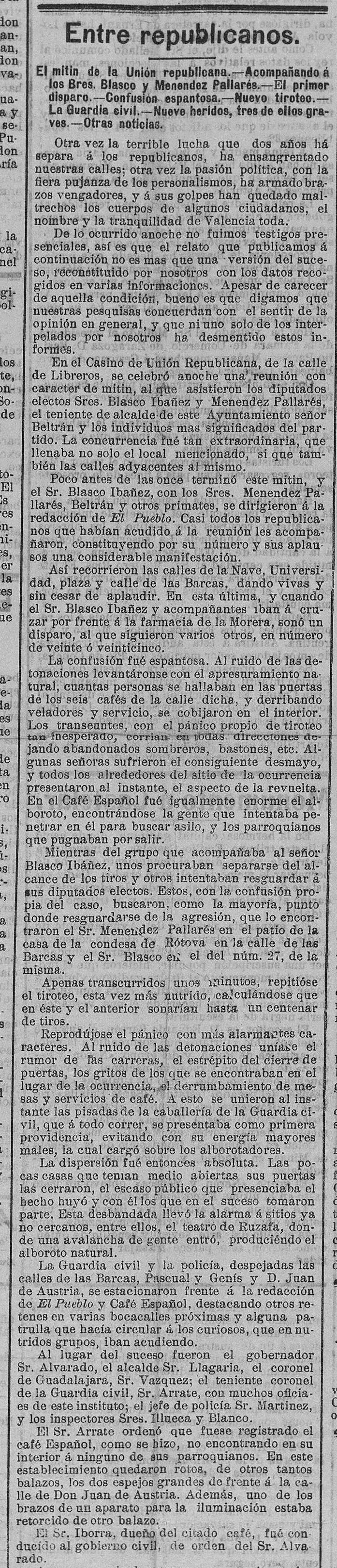 Atentado del 11 de septiembre de 1905 (Las Provincias, 12 de septiembre de 1905).