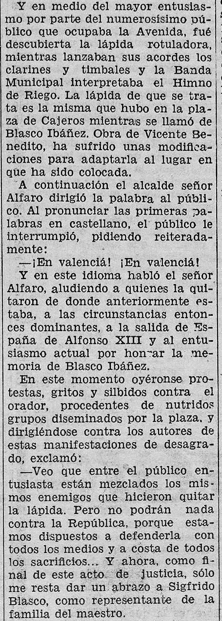 Las Provincias, 15 de abril de 1932 (en referencia a uno de los actos del 14 de abril de 1932).
