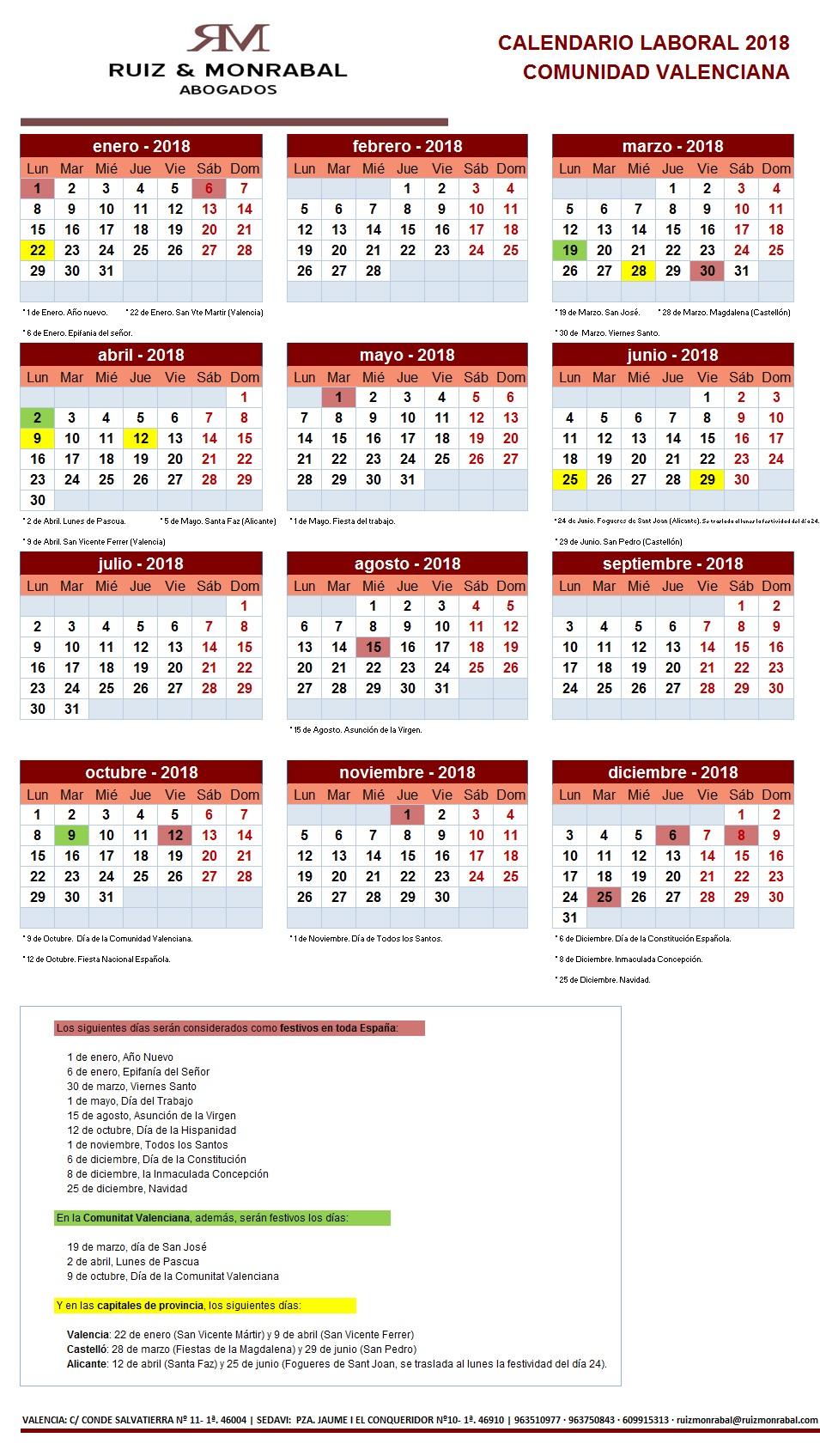 Calendario Laboral De Valencia.Calendario Laboral 2018 En Valencia